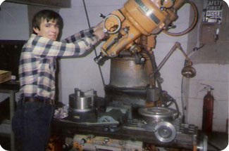 John Prosock at work in his basement in 1982.