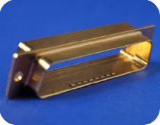 This RS 232 serial connector was machined out of aluminum stock and plated with gold. This connector was created for use on a satellite